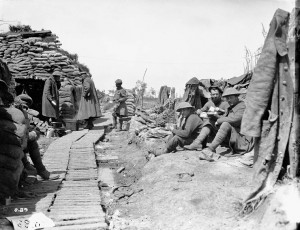 Lunch time in the trenches. June, 1916.